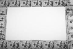 Ram av 100 dollar sedlar Arkivbild