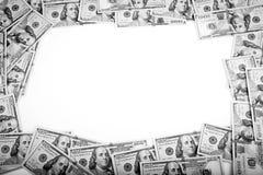 Ram av 100 dollar sedlar Fotografering för Bildbyråer