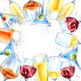 Ram av en champagne, en konjak, ett vin, en martini, ett öl och ett exponeringsglas vektor illustrationer