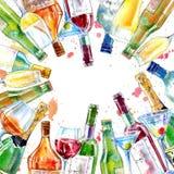 Ram av en champagne, en konjak, ett vin, en martini, ett öl och ett exponeringsglas royaltyfri illustrationer