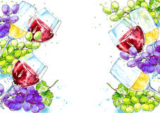 Ram av en flaska av rött och vitt vin och druvor stock illustrationer