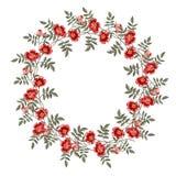 Ram av en röd rosblomma greeting lyckligt nytt år för 2007 kort Fotografering för Bildbyråer