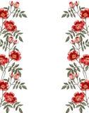 Ram av en röd rosblomma greeting lyckligt nytt år för 2007 kort Arkivbild