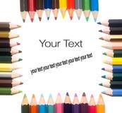 Ram av färgblyertspennor med olik färg Royaltyfri Foto
