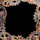 Ram av gamla metalliska kugghjul Vektor Illustrationer