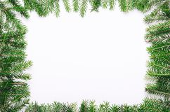 Ram av gröna taggiga unga julgranfilialer på vit bakgrund Kopieringsutrymme, bästa sikt royaltyfria bilder