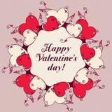 Ram av hjärtor för design Valentindagmeddelande Arkivfoto