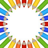 Ram av kulöra blyertspennor Royaltyfri Fotografi
