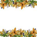 Ram av liljor, blommor och sidor Två horisontalblommaband stock illustrationer