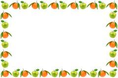 Ram av nya frukter som isoleras på vit bakgrund Äpplen och nolla arkivbilder