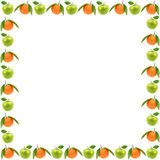 Ram av nya frukter som isoleras på vit bakgrund Äpplen och nolla Royaltyfri Foto