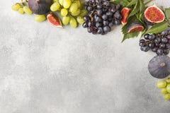Ram av nya höstfrukter Druvor svärtar och gör grön, fikonträd och sidor på en grå tabell med kopieringsutrymme royaltyfri bild