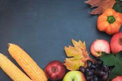 Ram av organisk mat nya rå grönsaker På en träsvart tavla Arkivbild