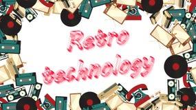 Ram av retro elektronik för gammal tappning från tv:ar, ` s, 80 ` s, 90 ` s för kassettbandspelare 70 med inskriften av retro tek stock illustrationer