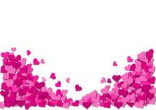 Ram av rosa hjärtor på en vit bakgrund Fotografering för Bildbyråer