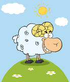Ram Cartoon Mascot Character On A Hill Stock Photo
