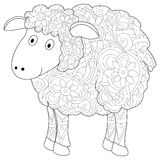 Ram Coloring book vector for adults Royalty Free Stock Photo