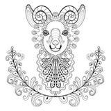 Ram con el marco floral wreathe Illust de Ram Head del zentangle del vector Fotos de archivo