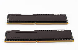 Ram DDR4 memory modules on white background, main component of desktop computer.  Royalty Free Stock Images
