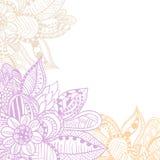 Ram dekorerade abstrakta blommor i klotterstil royaltyfri illustrationer