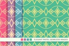 Ram Diamond Ch för kors för kurva för sömlös pastellfärgad bakgrundsuppsättning oval vektor illustrationer