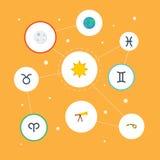Ram dos ícones, lunar lisos, peixes e outros elementos do vetor O grupo de símbolos lisos dos ícones da astronomia igualmente inc ilustração royalty free