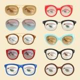 Ram eller solglasögon i former och tillbehör för monokel för tecknad film för ögon för framsida för vektortecknad filmexponerings Royaltyfri Bild