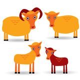 Ram, ewe and lamb. Set of funny animals with cubs on white background. vector Royalty Free Stock Image