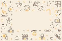 Ram för översikt för glad jul för vektor horisontal vektor illustrationer