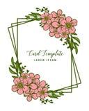 Ram för blomma för rosa färger för konst för vektorillustrationmodell med dekorativt av kortmallar royaltyfri illustrationer