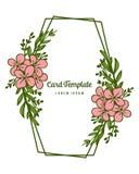 Ram för blomma för rosa färger för konst för vektorillustrationmodell med dekorativt av kortmallar vektor illustrationer