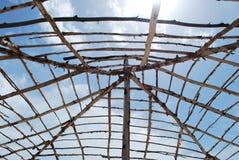 Ram för Gambia strandkoja med blå himmel Arkivfoton