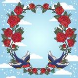 Ram för gammal skola med rosor och fåglar också vektor för coreldrawillustration Royaltyfri Foto