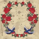 Ram för gammal skola med rosor och fåglar också vektor för coreldrawillustration Royaltyfri Bild
