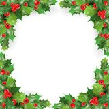 Ram för glad jul med mistel, Holly Berries Mall för kort för hälsning för vinterferier stock illustrationer