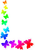 Ram för gräns för regnbågefjärilshörn royaltyfri illustrationer