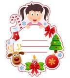 Ram för julflickabokomslag Royaltyfria Foton