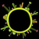 Ram för kaktusvärldsnatt royaltyfri illustrationer