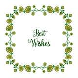 Ram för krans för vektorillustration gul för dekorativt av gratulationer royaltyfri illustrationer