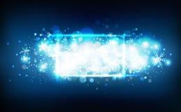 Ram för neon för skyttestjärnor av vintersäsongen, konfettier, snöflingor och glödande partiklar för damm, blått abstrakt begrepp stock illustrationer