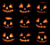 Ram för nio halloween pumpor på svart bakgrund Arkivfoton