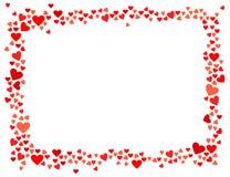 Ram för röda hjärtor för vektor som horisontalisoleras på vit bakgrund Stock Illustrationer
