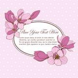Ram för rosa kort för magnolia oval Arkivbild