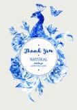 Ram för runda för inbjudan för sommartappningbröllop med den blåa påfågeln Arkivbild