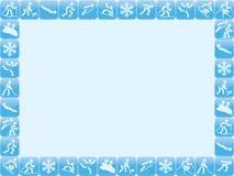 Ram för symboler för vintersportar stock illustrationer