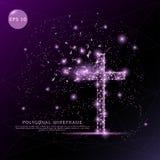 Ram för tråd för religionkors digitalt dragen futuristisk låg poly vektor illustrationer