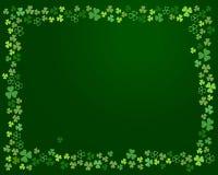 Ram för treklöverväxt av släktet Trifoliumsidor på mörker - grön bakgrund vektor Stock Illustrationer