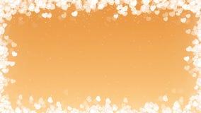 Ram för valentindagvideo med flyghjärtor på guld- bakgrund lager videofilmer
