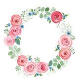Ram för vattenfärgblad- och rosrunda royaltyfri illustrationer