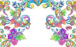 Ram för för vattenfärgfärgblommor och fjärilar Royaltyfria Bilder